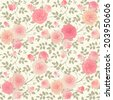 Seamless background with climbing roses. Floral vector shabby chic style pattern. Raster version. - stock photo
