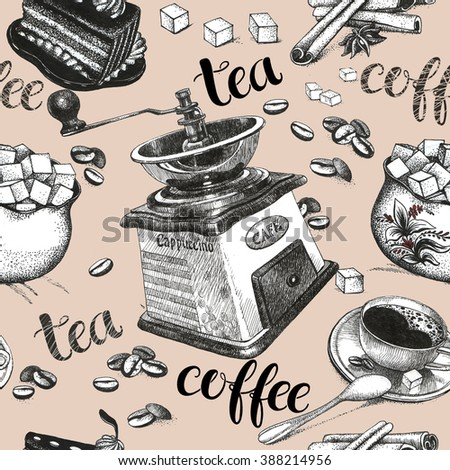 Seamless background with coffee and tea, art drawings. Part of collection. - stock photo