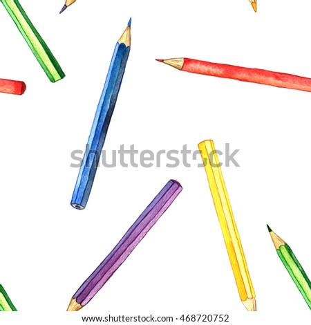 seamless background with color pencils, pattern with school stationery, watercolor drawing template with of art supplies, hand drawn illustration