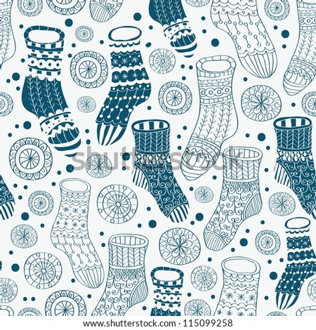 Seamless background with decorative winter stockings, illustration for design