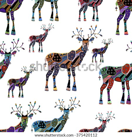seamless background with deer - stock photo
