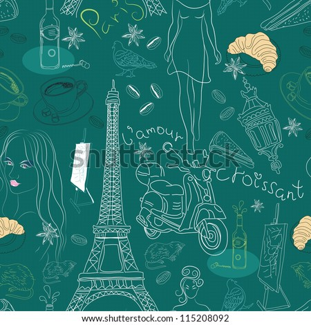 Seamless background with different Paris doodle elements, illustration for design - stock photo