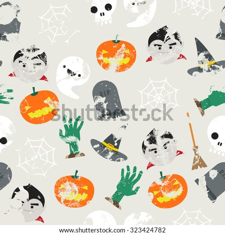 Seamless background with halloween pattern and grunge effect - stock photo