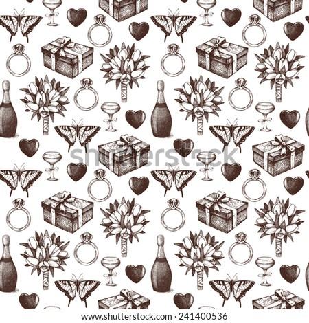 Seamless background with  ink hand drawn valentine's day illustration. Vintage valentine's day pattern. - stock photo