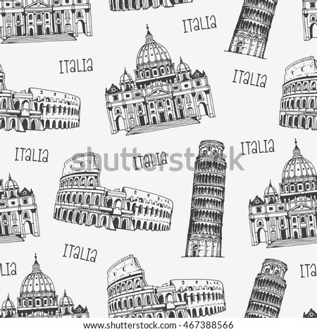 Seamless background with italian architecture, pattern with famous Rome, Italy landmarks