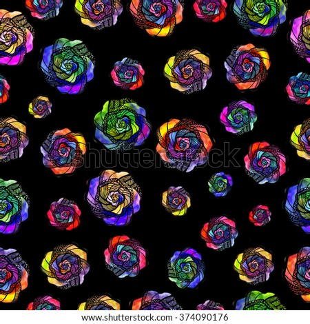 seamless background with neon roses in watercolor style - stock photo