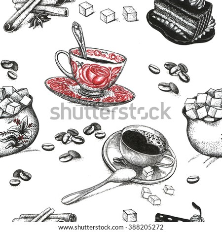 Seamless background with ?offee accessories drawings - stock photo