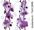 Seamless background with orchids (see eps version in my portfolio) - stock photo