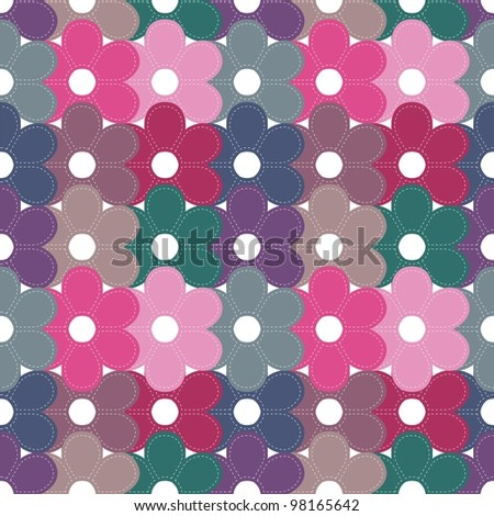 seamless background with scrapbook flowers - stock photo