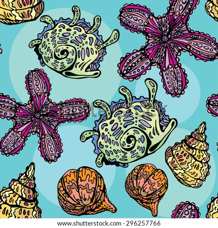 Seamless background with sea life - pattern with shells and sea stars. Handdrawn picture. Raster version - stock photo
