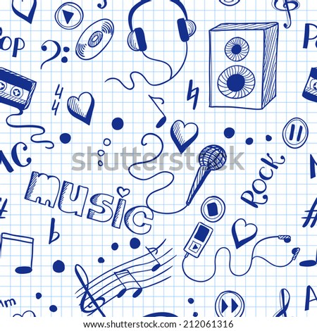 Seamless background with sketch music elements.  - stock photo