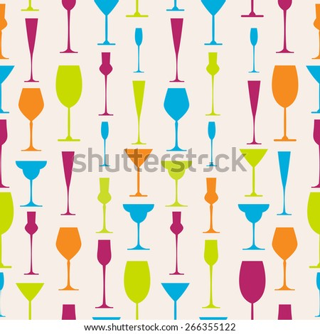 Seamless background with stemware different colors