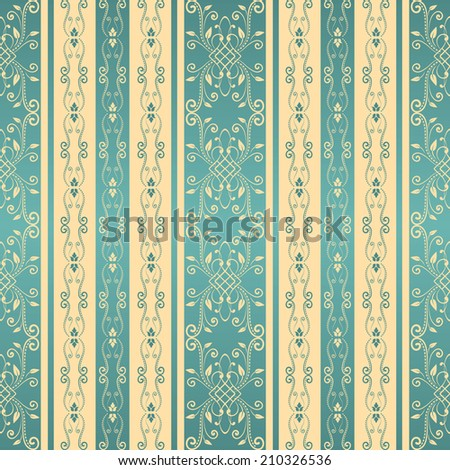 Seamless background with stripes for design in beige and blue colors. Retro styled damask pattern. Raster copy. - stock photo