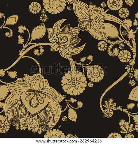 Seamless background with vintage floral pattern - stock photo