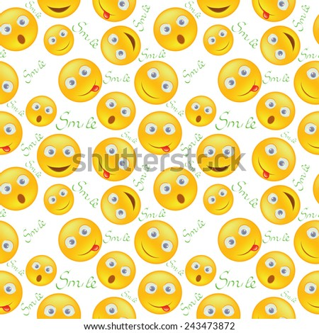 Seamless background with yellow smiley - stock photo