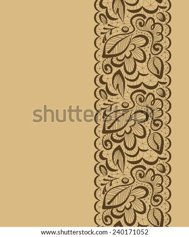 seamless beautiful background. Lace flowers and leaves on a light brown background - stock photo