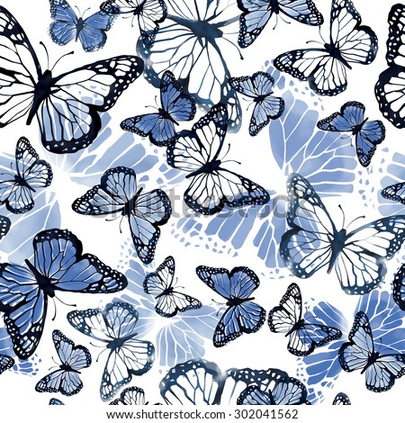 seamless beautiful watercolor artistic gentle blue butterflies pattern. romantic, pastel background print. tropical flying creatures. - stock photo