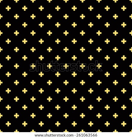 Seamless black and gold luxury op art plus cross symbol pattern - stock photo