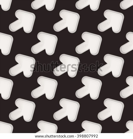 Seamless black and white abstract pattern from arrows - stock photo