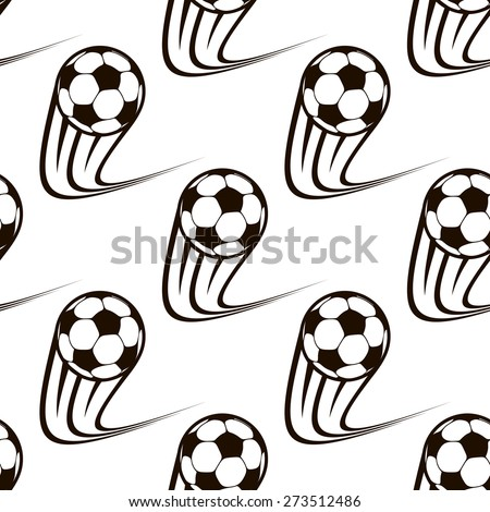 Seamless black and white background pattern of zooming soccer balls with curved speed trails - stock photo