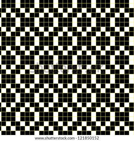 seamless black and white pattern with yellow lines - stock photo