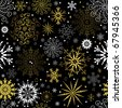 Seamless black christmas wallpaper with white and golden  snowflakes - stock vector