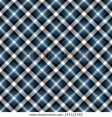 Seamless Blue, Black, & White Diagonal Plaid Pattern - stock photo