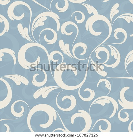 seamless blue floral wallpaper.raster version.illustration - stock photo