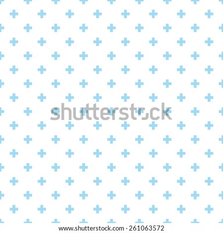 Seamless blue op art plus cross symbol pattern - stock photo