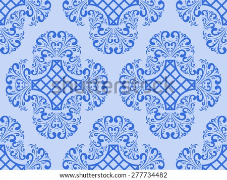 Seamless blue retro Wallpaper. Raster version. - stock photo