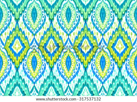 Seamless boho ethnic pattern. Lace paisley shapes, turquoise colors, detailed ornaments.