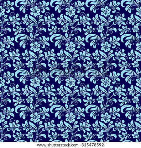 Seamless bold blue colored floral pattern motifs suitable for wallpaper and fabric design in square format - stock photo