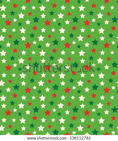 Seamless Bright Abstract Pattern with Stars in Christmas Colors Isolated on Green Background - stock photo