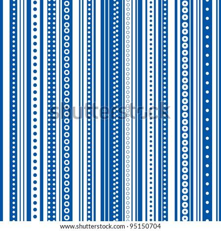Seamless Bright Blue & White Stripe Background Wallpaper - stock photo