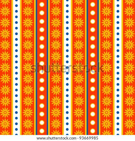 Seamless Bright Festive Striped and Floral Background - stock photo
