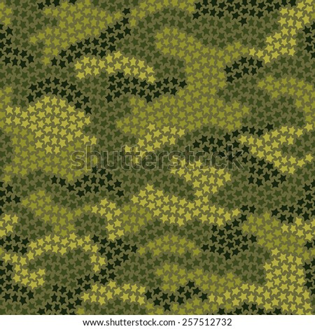 Seamless camouflage pattern made of small stars in green colors - stock photo