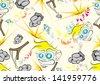 seamless cartoon pattern - stock vector