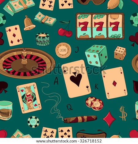 Seamless casino hand drawn pattern with a hand of aces playing cards, dice, roulette board, casino chips or tokens and lucky number 777 - stock photo