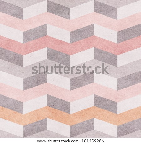Seamless chevron pattern on old paper texture - stock photo