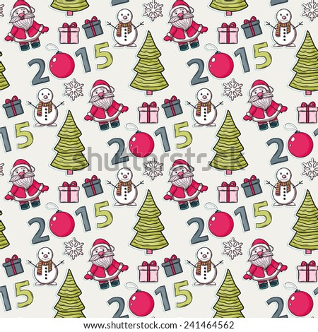 Seamless Christmas pattern,sticker, with Santa Claus,gifts, snowman, numbers, 2015, Christmas ball, snowflakes, Christmas trees on a white background - stock photo