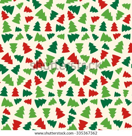 Seamless Christmas Pattern with Evergreen Trees Isolated on Beige Background - stock photo