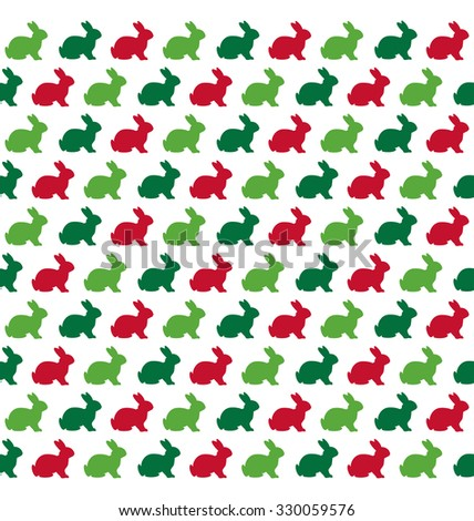 Seamless Christmas Pattern with Rabbits Isolated on White Background - stock photo
