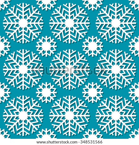 Seamless christmas pattern with snowflakes. Cute geometric blue background. Winter simple illustration. Ornamental decorative texture for print, web