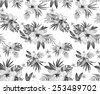 seamless classic elegant monochrome tropical print. retro style illustrations. feminine, spacious bouquets with hibiscus and frangipani on white background.  - stock vector