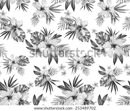 seamless classic elegant monochrome tropical print. retro style illustrations. feminine, spacious bouquets with hibiscus and frangipani on white background.  - stock photo