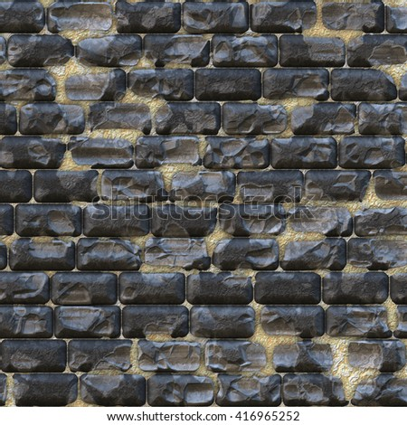 Seamless cobblestone path bricks with wear and tear, digital illustration art work. - stock photo