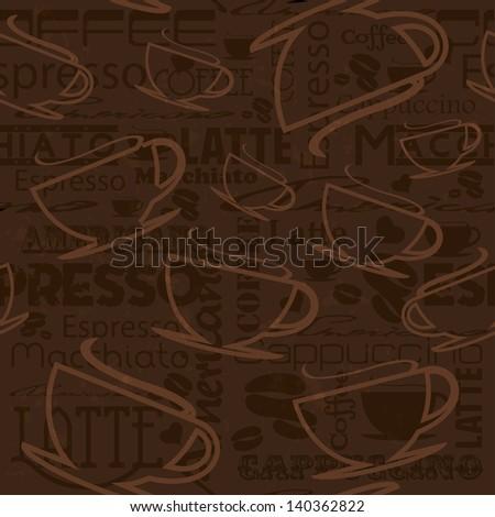 Seamless coffee pattern. - stock photo