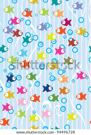 Seamless color background with cute fish, illustration - stock photo