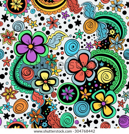 seamless color pattern of spirals, swirls, doodles and flowers