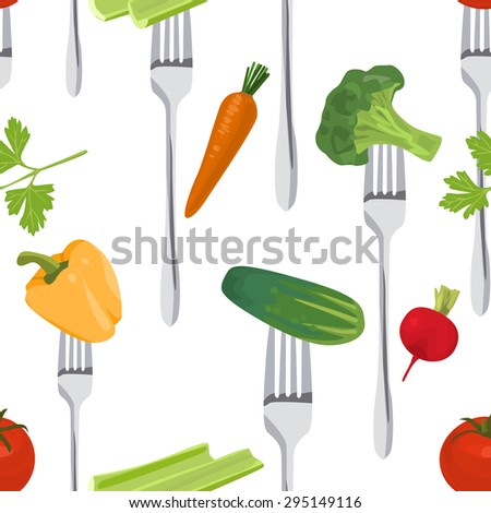 Seamless Colorful Background made of vegetables on the forks